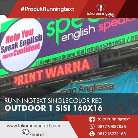 Runningtext Singlecolor Red Outdoor 1 sisi 160x16