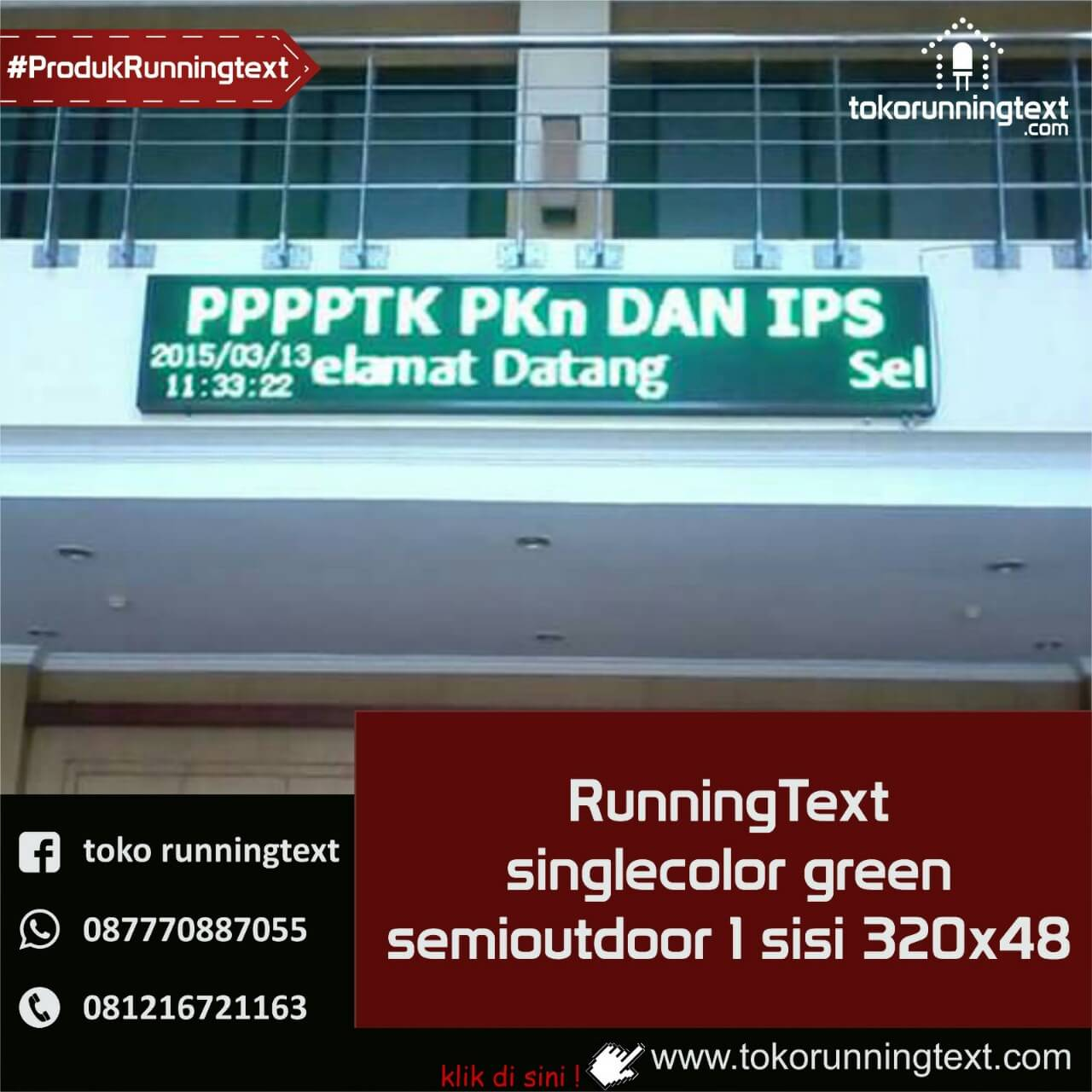 Runningtext singlecolor Green, semioutdoor 1 sisi 320x48