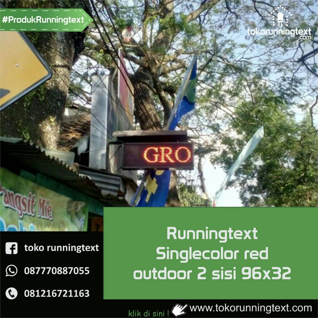 Runningtext singlecolor Red outdoor 2 sisi 96x32