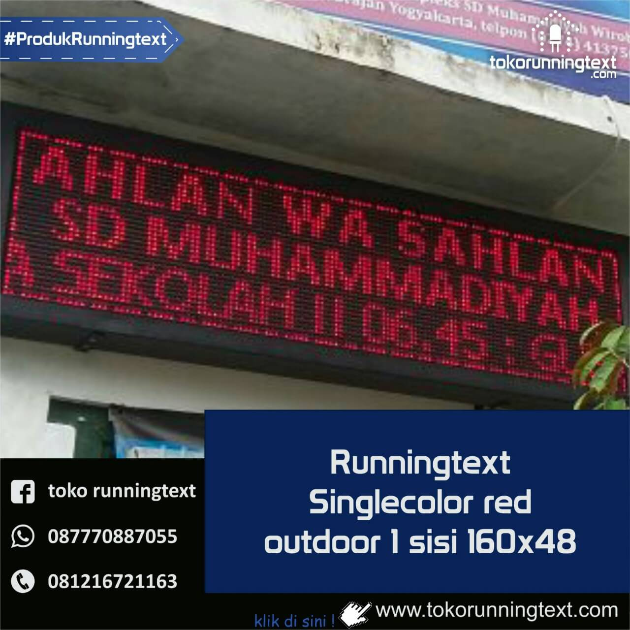 Runningtext singlecolor Red outdoor 1 sisi 160x48