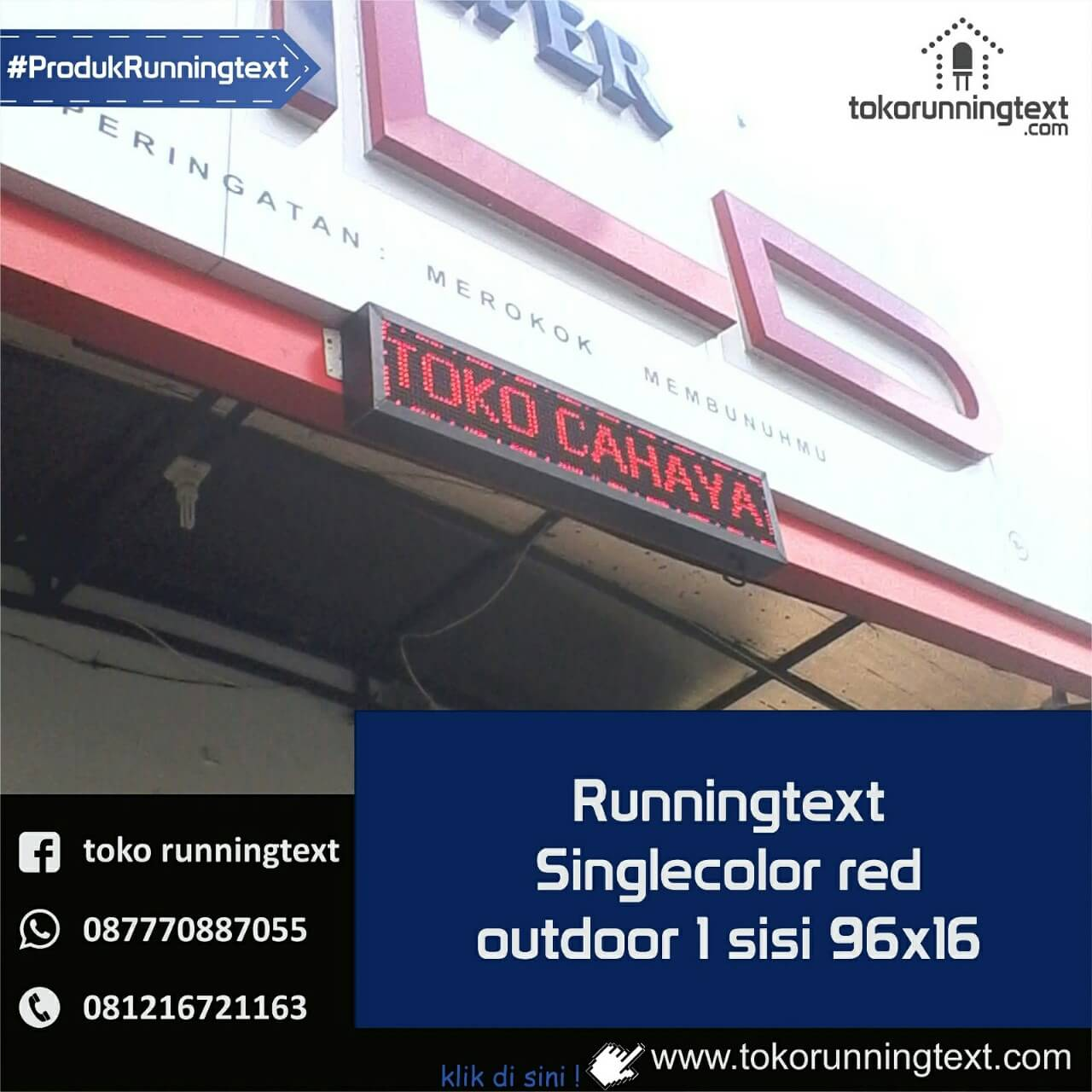 Runningtext single color Red, Outdoor 1 sisi 96x16