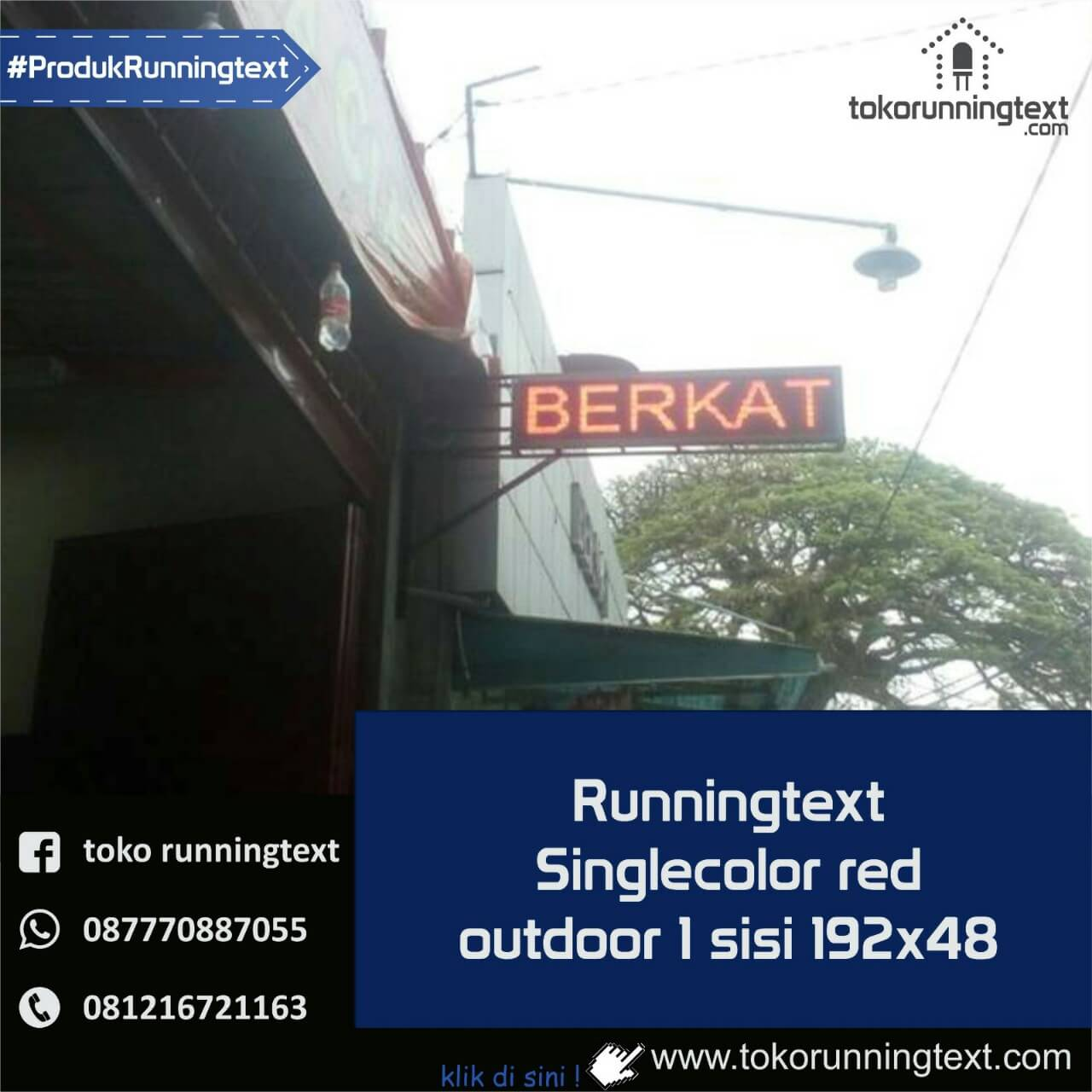Runningtext singlecolor Red outdoor 1 sisi 192x48