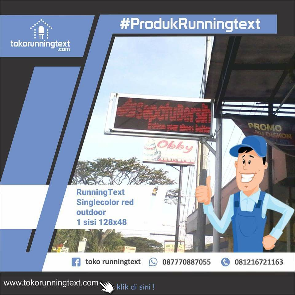 Toko Runningtext Running Text 100x20 Blue Biru Movingsign Ter
