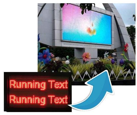 sejarah perkembangan running text ke videotron